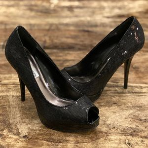 Steve Madden Black Sequin Peep-toe Heels 7 1/2